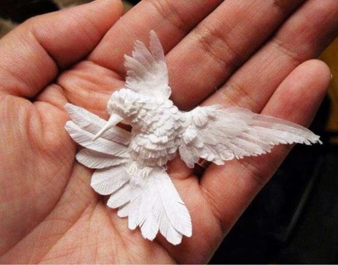 Lindos beija-flores feitos com papel