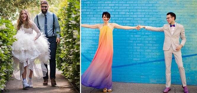 Noivas que preferiram vestidos fora do tradicional e que ficaram o máximo