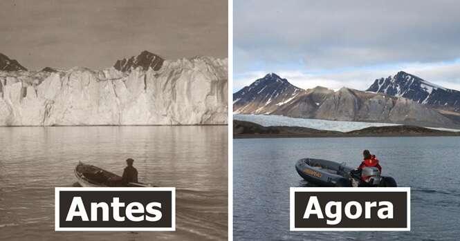 Fotos chocantes revelando o que 100 anos de mudanças climáticas fizeram às geleiras do Ártico