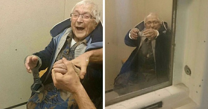 Idosa de 99 anos de idade realiza sonho de ser algemada e presa