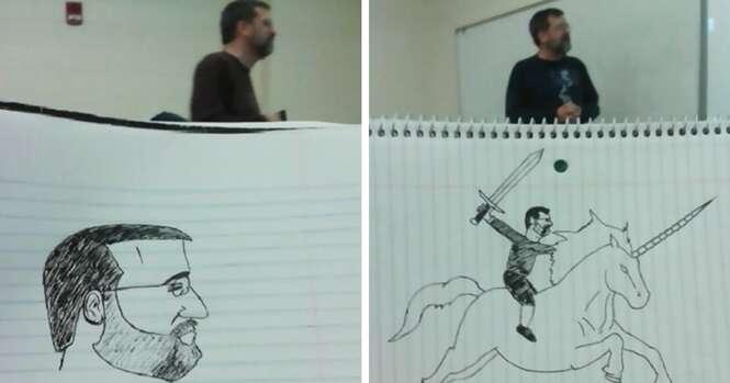 Estudante entediado faz desenhos de seu professor durante um semestre inteiro