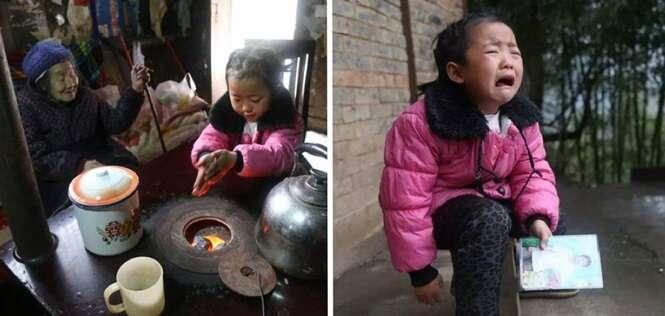 Esta menininha de apenas 5 anos de idade cuida das avós doentes sozinha