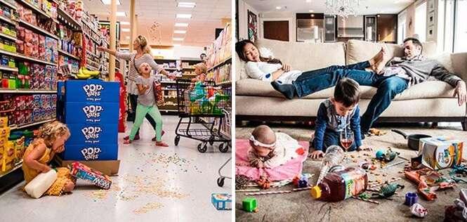 """Fotos """"divertidas"""" revelando o caos que é ser pai e mãe"""