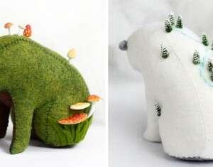15 ursos de feltro que carregam mundos minúsculos em suas costas