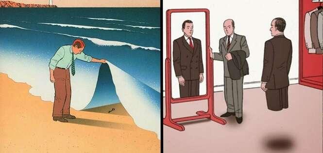 Ilustrações que parecem ser normais, mas que têm um detalhe que faz toda a diferença