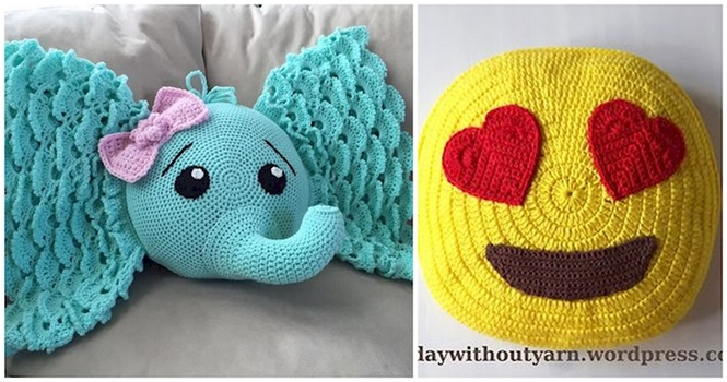 Adoráveis almofadas feitas de crochê