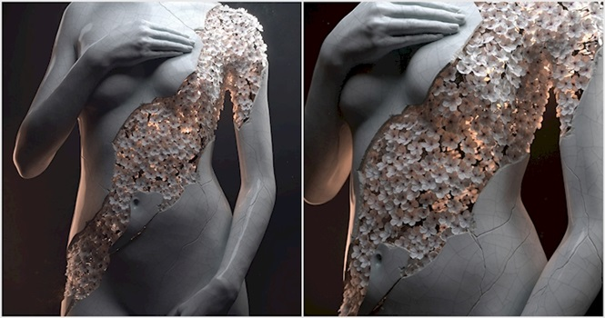 Artista usa flores em esculturas 3D para retratar beleza feminina