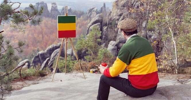 Esse artista vai a lugares onde pintores famosos fizeram suas obras e faz telas da própria camisa