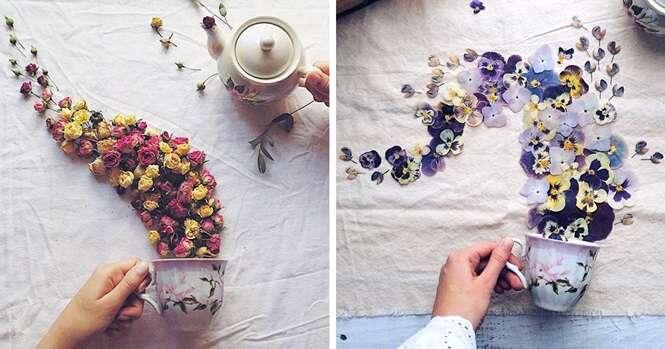Artista russa faz artes encantadoras usando xícaras de chá