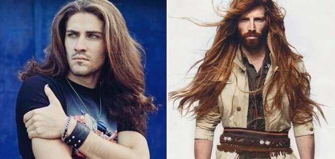 Homens com cabelos bem compridos