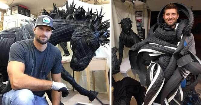 Esculturas surpreendentes feitas de pneus
