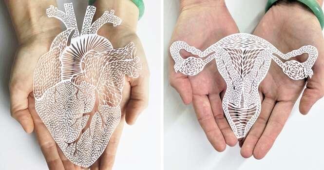 Em trabalho incrível, artista faz órgãos do corpo humano usando papel