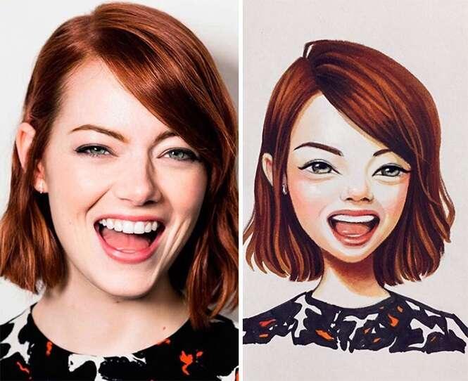 Artista russa transforma celebridades em desenhos animados adoráveis