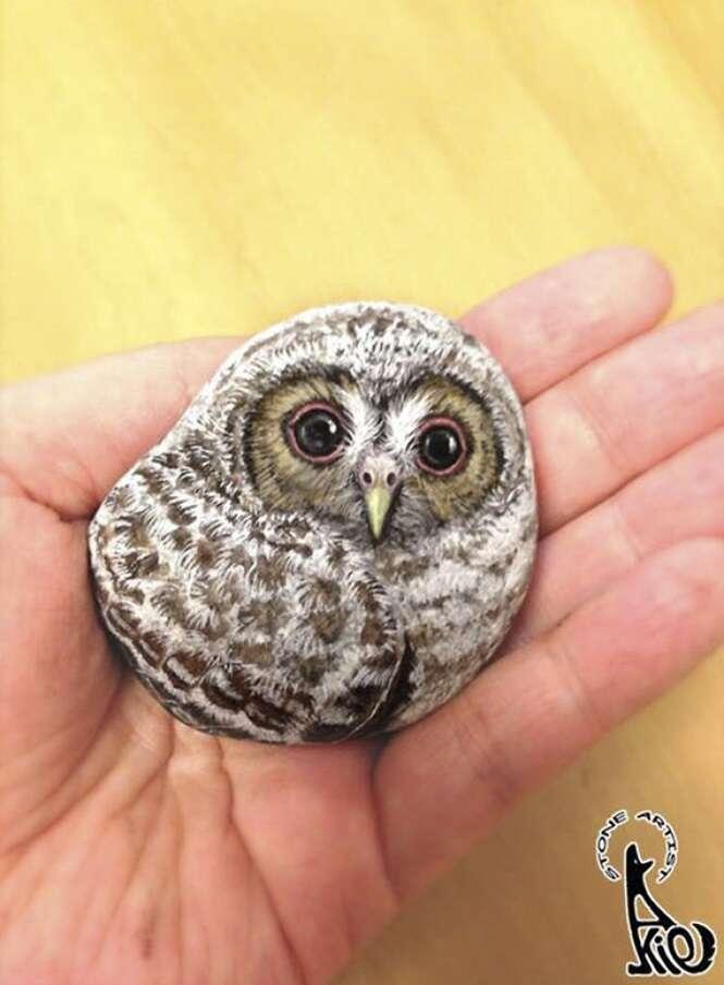 Imagens mostrando pedras que foram transformadas em animais