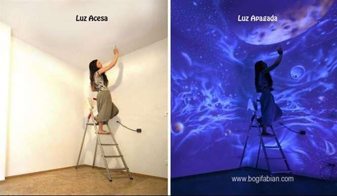 Artista usa tinta fluorescente para transformar cômodos em lugares incríveis