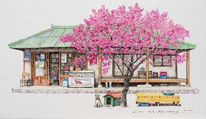 Artista passa 20 anos esboçando pequenos comércios da coreia do Sul