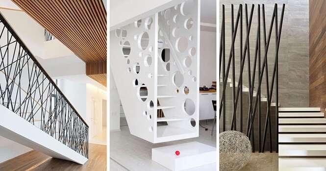 Exemplos de grades de escadas mostrando que elas não precisam ser sem graça