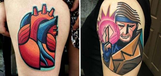 Tatuagens provando que a arte do cubismo pode ser bem pop