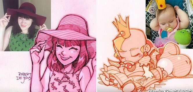 Artista transforma pessoas em desenhos incríveis