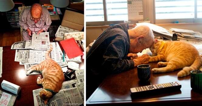Depois de ganhar um gato, a vida de um idoso doente e mal-humorado se transformou completamente