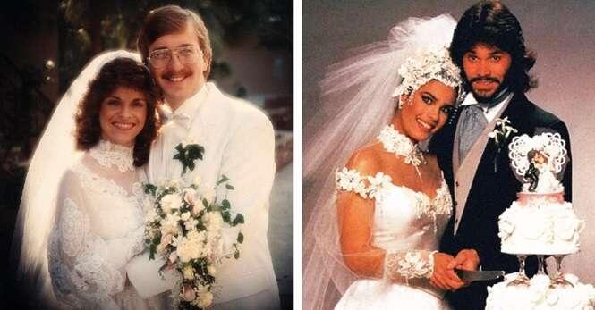 Fotos de casamento dos anos 80 que proporcionarão nostalgia em quem se casou naquela época