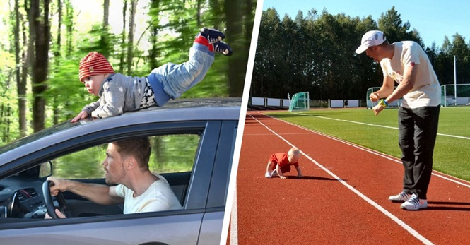 Pai usa Photoshop para fazer criativas montagens com o próprio filho