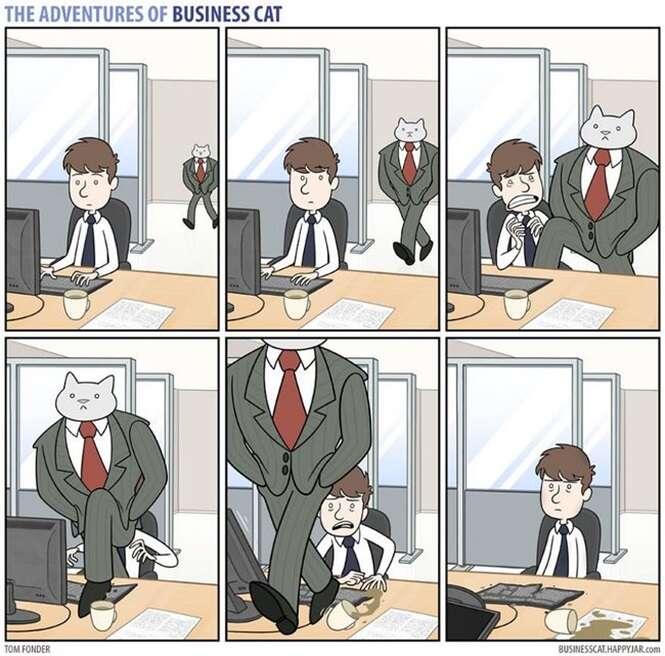 Ilustrações mostrando como seu patrão seria se ele fosse um gato