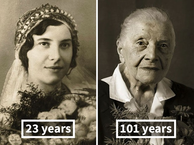 Pessoas quando jovens e quando centenárias