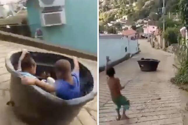 Este vídeo prova que a criança brasileira não tem limites quando o assunto é diversão