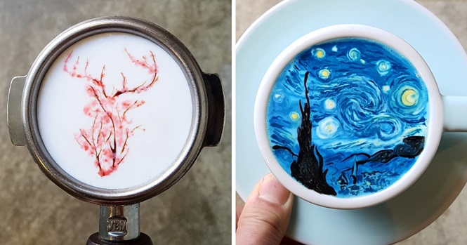 Artes incríveis feitas em café