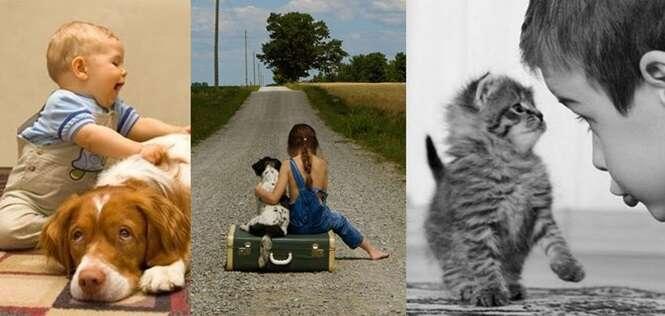 Imagens retratando a beleza e a inocência da amizade entre animais e crianças