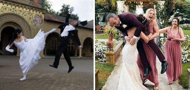 Recém-casados que fizeram álbuns de casamento muito bem-humorados