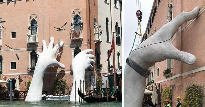 Estas mãos gigantes servem para mandar uma mensagem importante sobre as mudanças climáticas