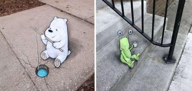 Artista usa giz para desenhar nas ruas e nos faz acreditar que vivemos em um mundo de fantasia