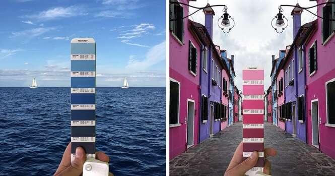 Designer gráfico combina perfeitamente cores da cartela Pantone com paisagens naturais e cidades