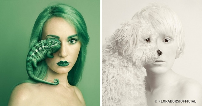 Imagens impressionantes de um projeto fotográfico que aproxima os seres humanos de outros animais