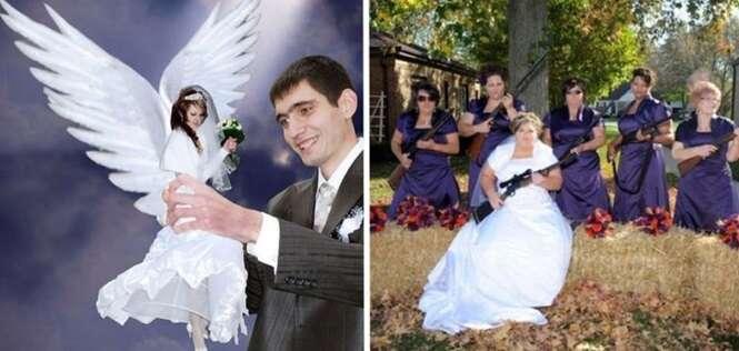 Imagens mostrando como não fazer fotos para o álbum de casamento