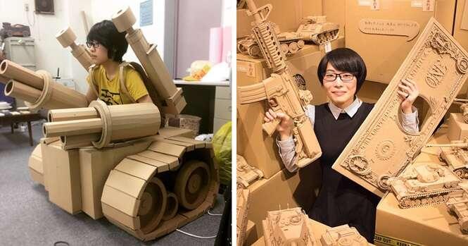Artista japonesa transforma papelão em esculturas sensacionais