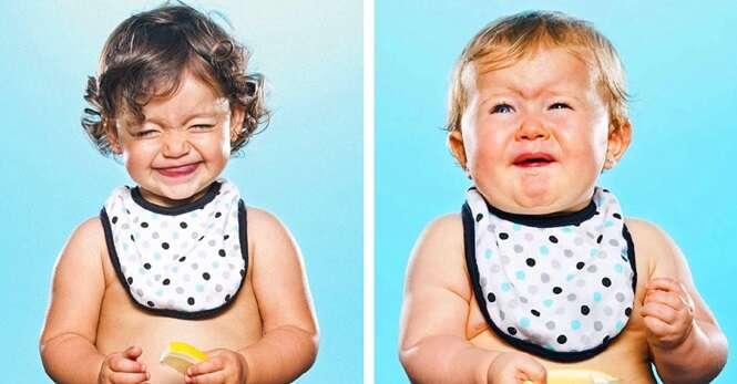 Reações de bebês experimentando limão pela primeira vez na vida