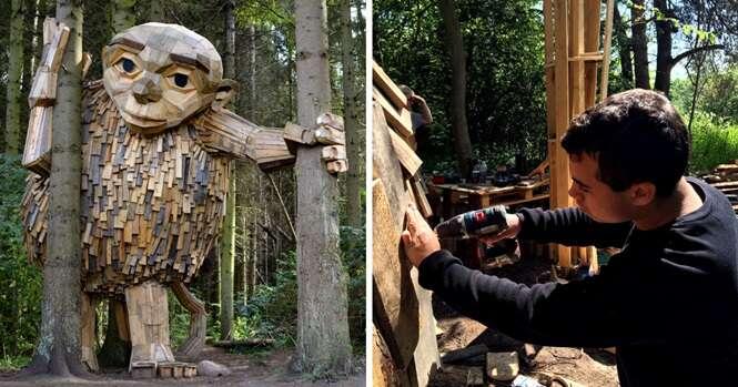Artista dinamarquês esconde esculturas gigantes de madeira em áreas verdes de Copenhague