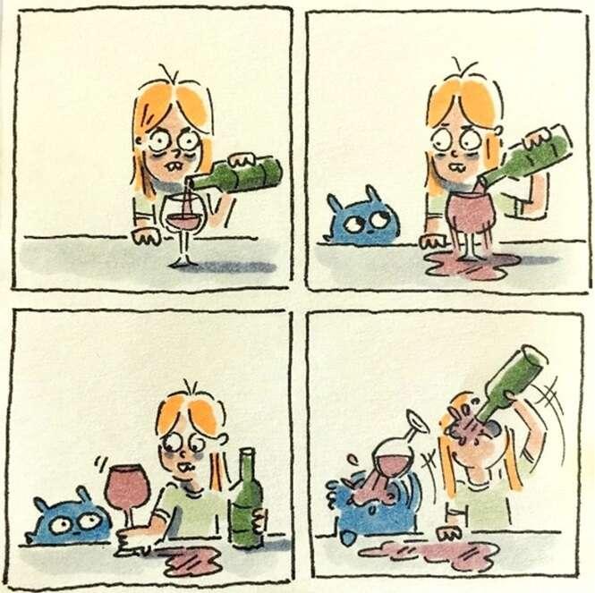 Ilustrações retratando como é a vida com um gato