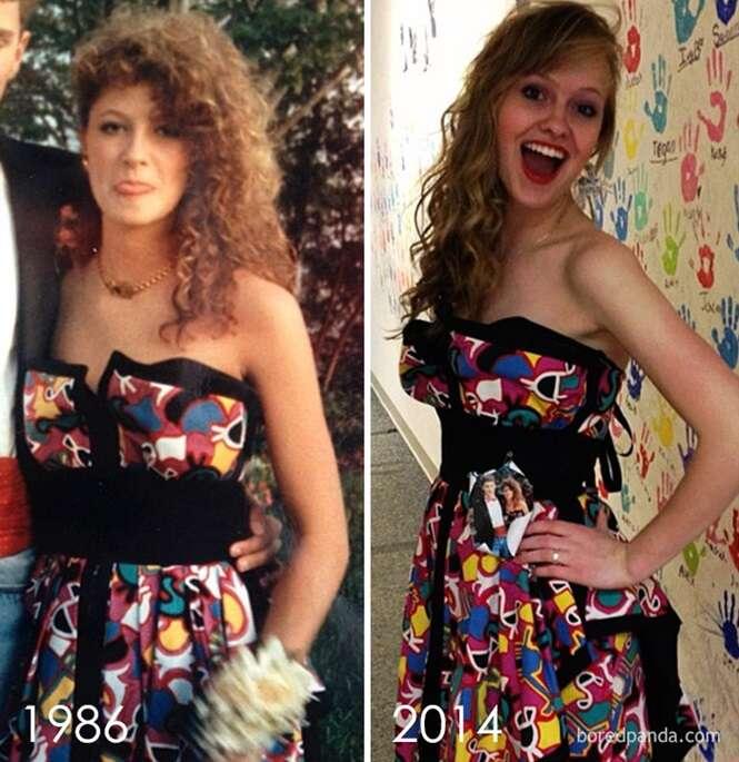 Filhas que usaram o vestido vintage de suas mães na festa de formatura
