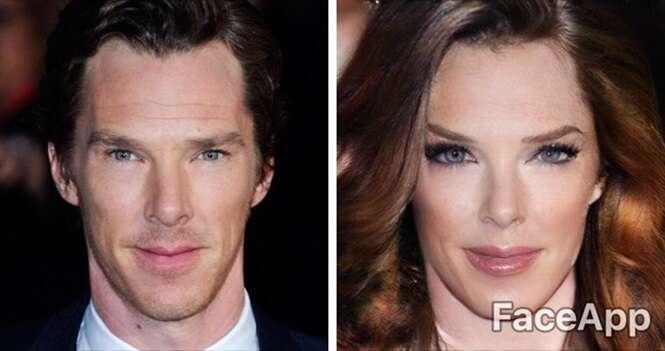 Fotos mostrando como alguns famosos ficariam após passarem por cirurgia de mudança de sexo