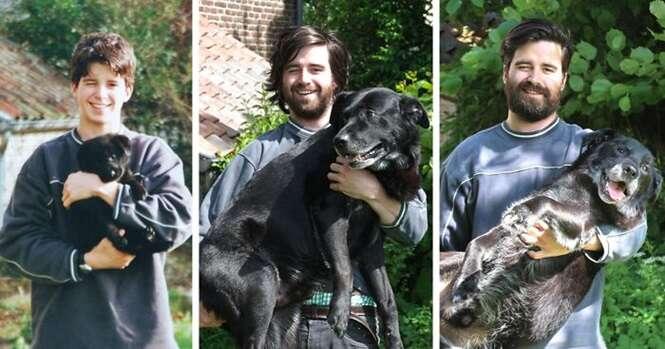 Antes e depois mostrando cães e donos que cresceram juntos