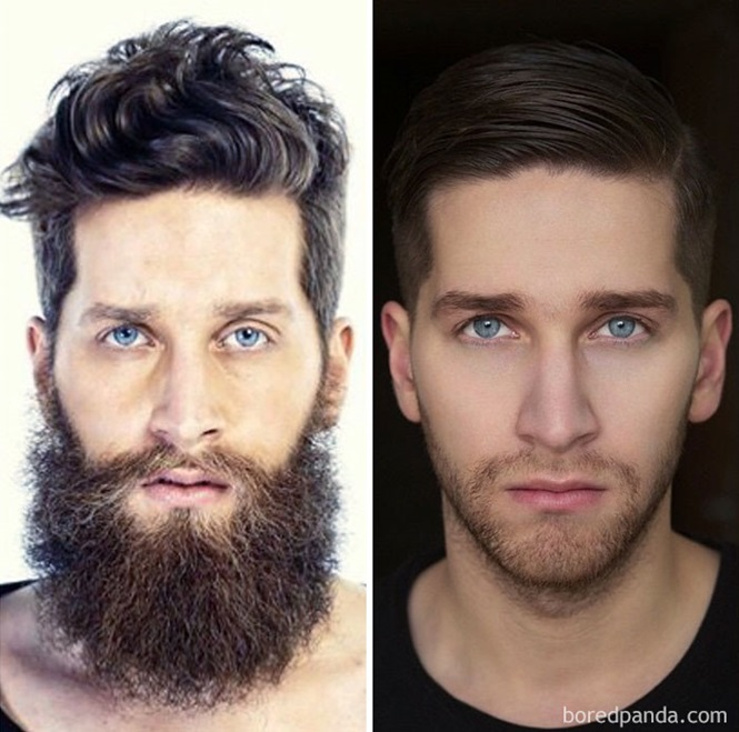 Homens que não parecem as mesmas pessoas sem barba