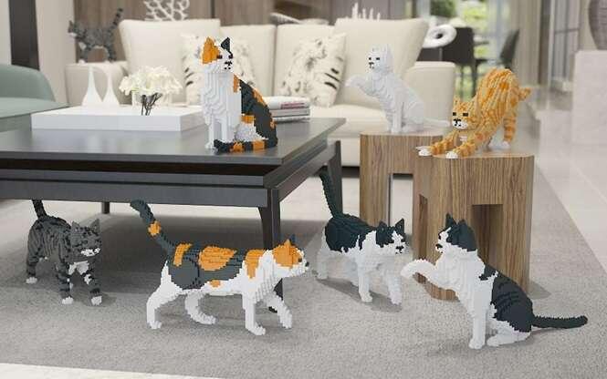 Gatos feitos de LEGO, para pessoas que amam os bichanos