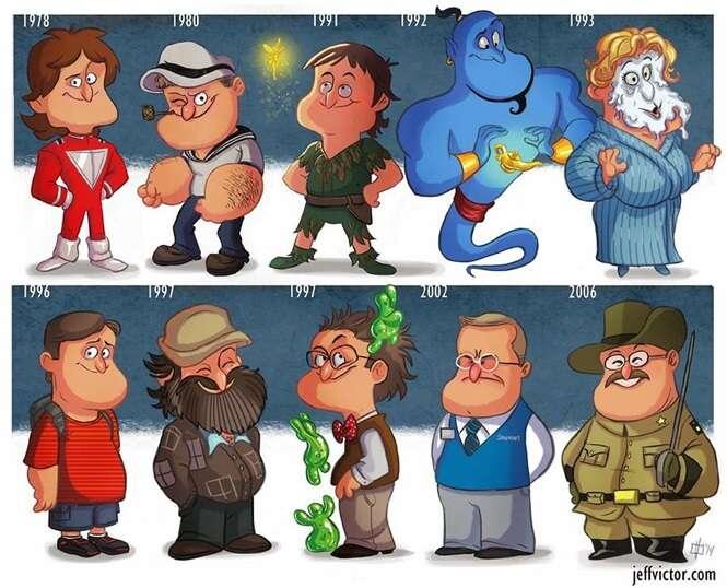 As evoluções de 10 atores e personagens famosos