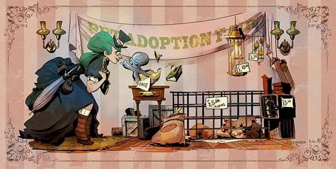 Ilustrador da Disney mostra como seria a vida com um polvo de estimação