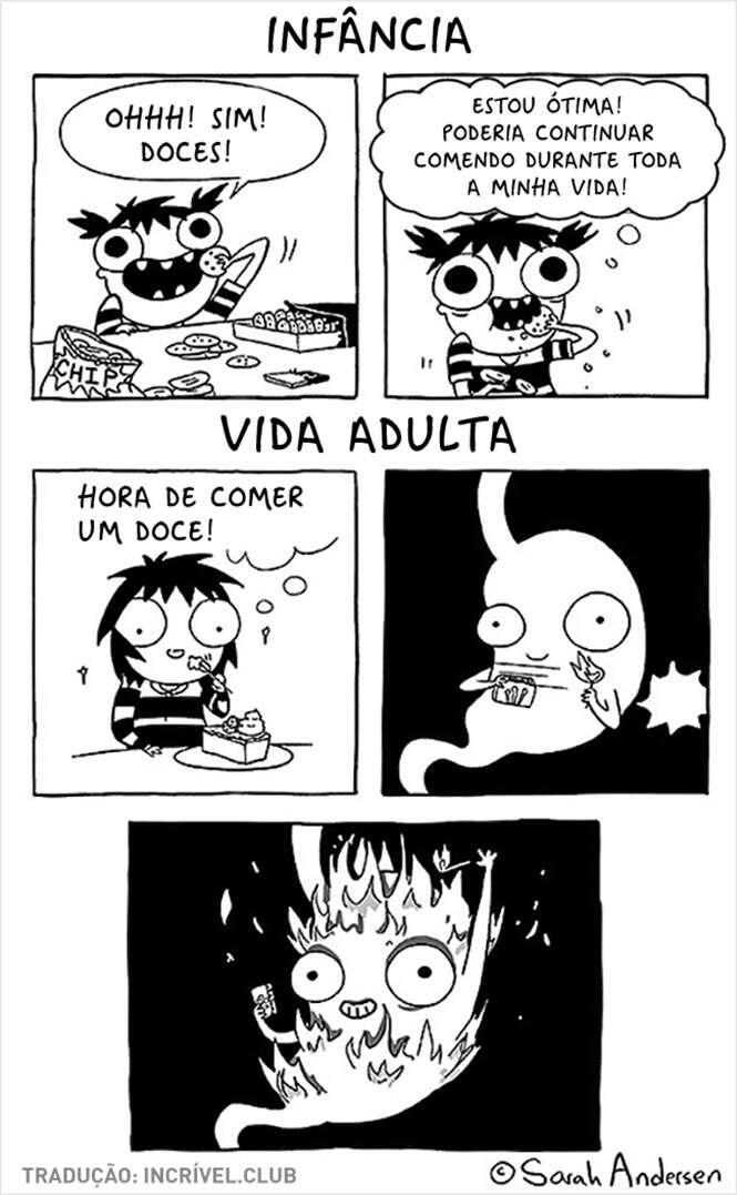 Comics ilustrando como é difícil ser uma garota adulta