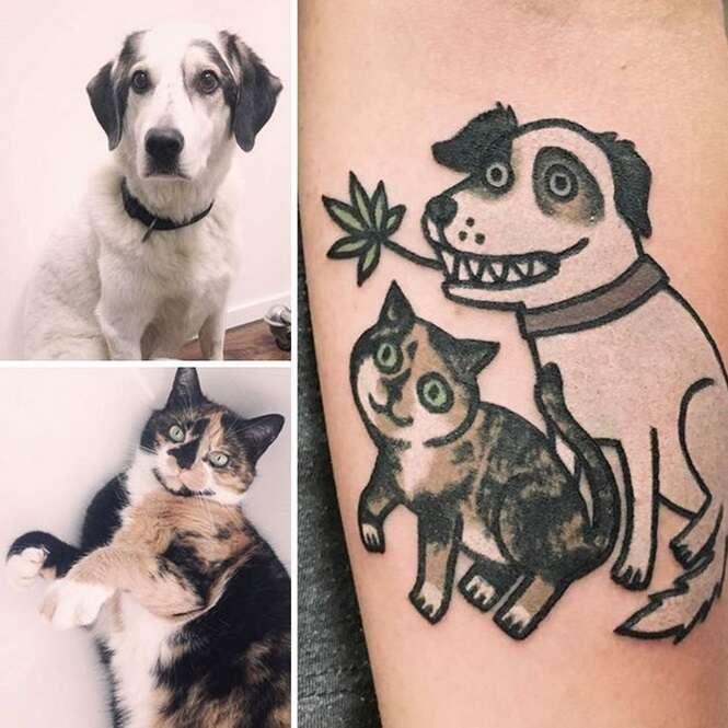 Tatuadora sul-coreana eterniza pets em seus donos no estilo cartoon